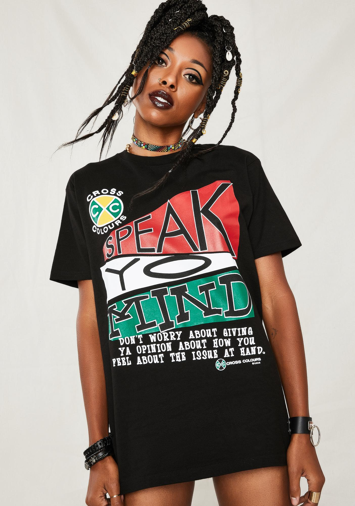 Cross Colours Speak Yo Mind Graphic T-Shirt