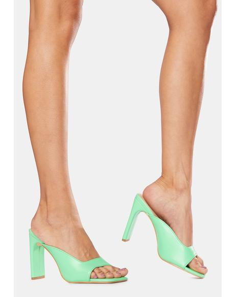 Green Abelle Mono Square Toe High Heels