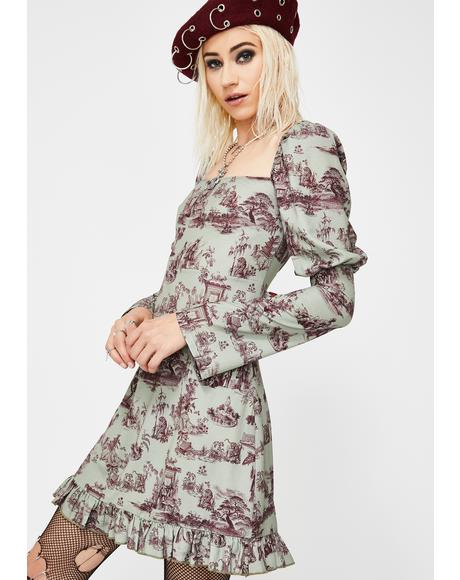 Wedgewood Print Puff Sleeve Dress