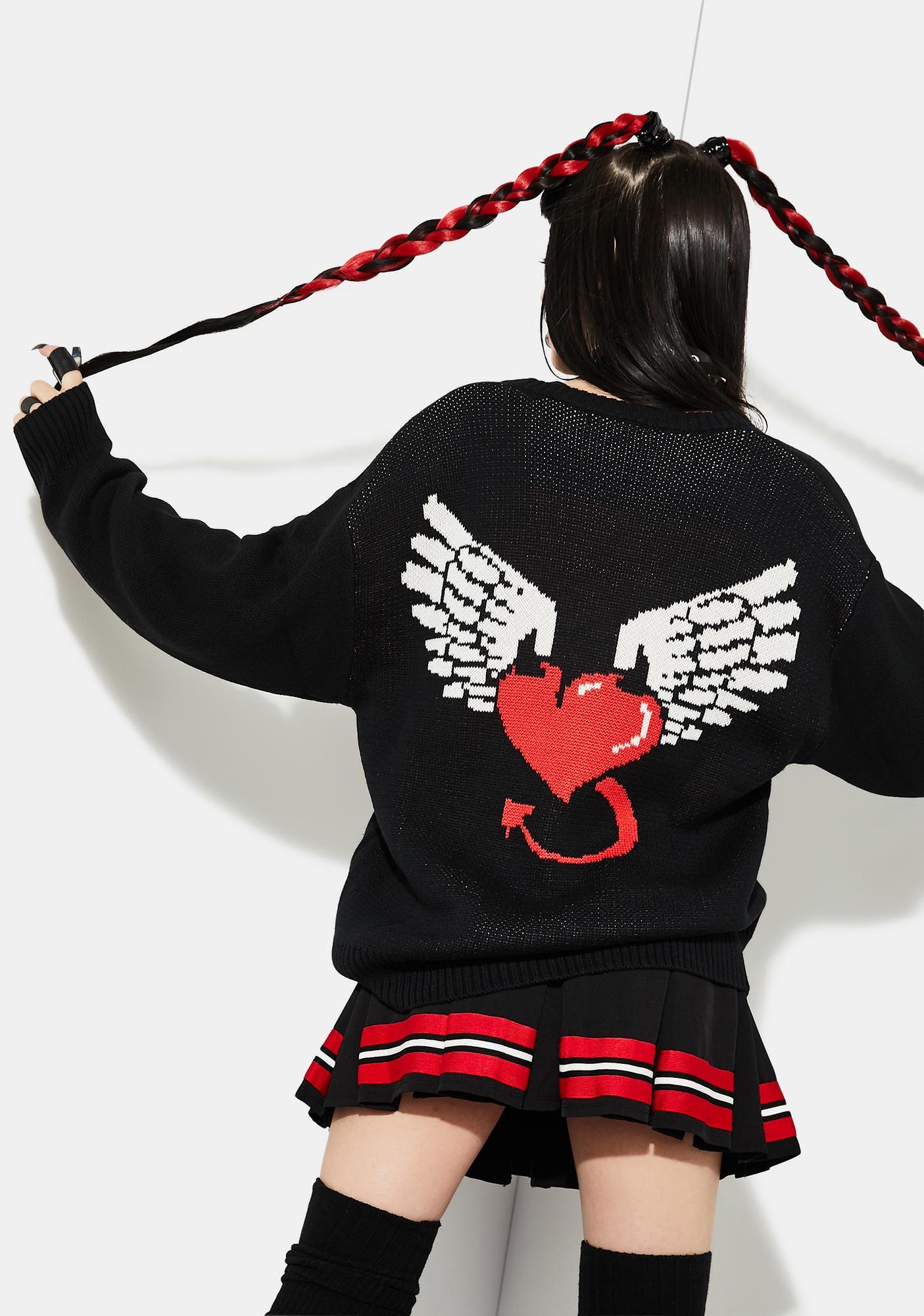 Current Mood Hellbound Heart Intarsia Cardigan