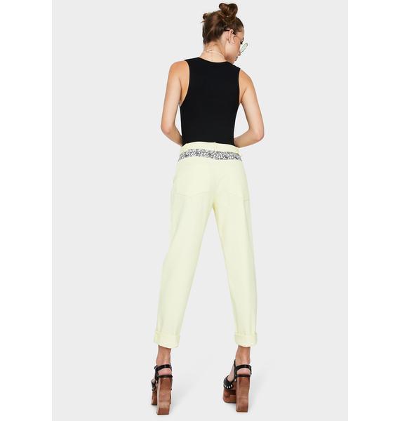 Daisy Street Yellow Printed Pocket Mom Jeans