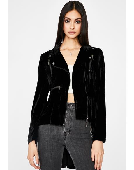 Highs N' Lows Velvet Moto Jacket
