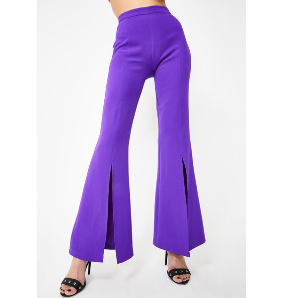 Jaded London Purple Split Front Flared Leg Trousers