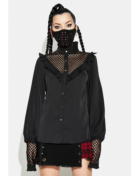 Gothic Style Mesh Chiffon Shirt
