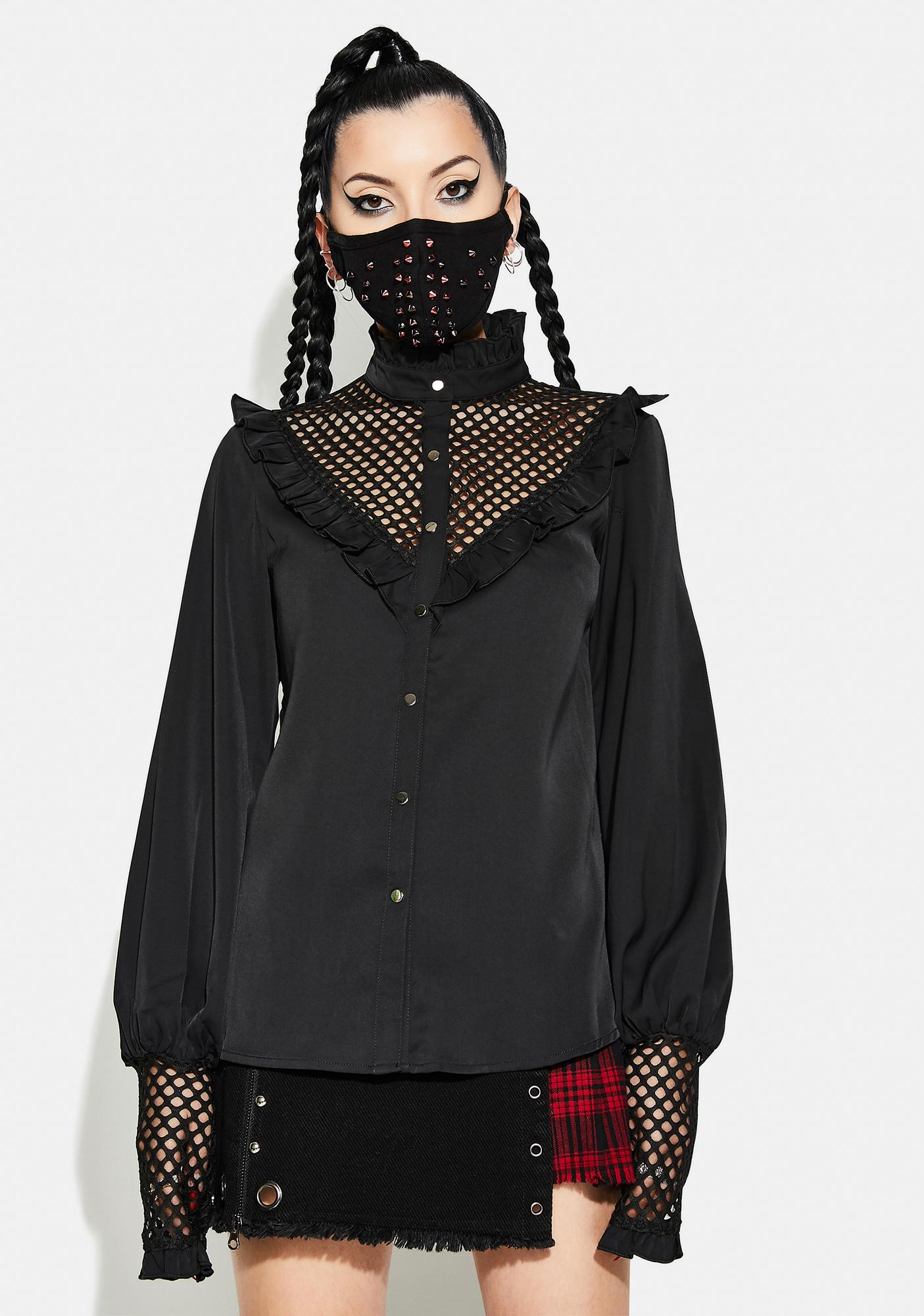 Punk Rave Gothic Style Mesh Chiffon Shirt