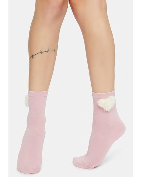 Mauve Sending My Love Heart Pom Pom Socks