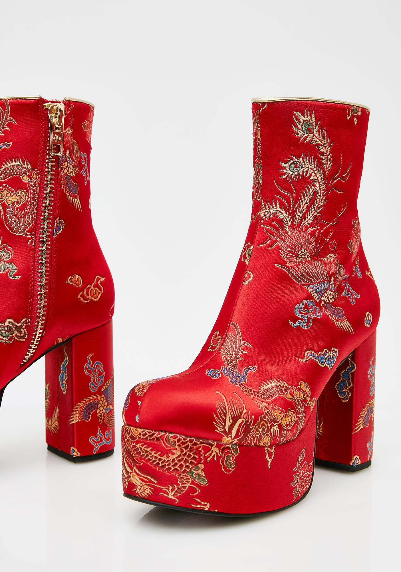 Current Mood Flame Spittin' Fiyah Brocade Boots