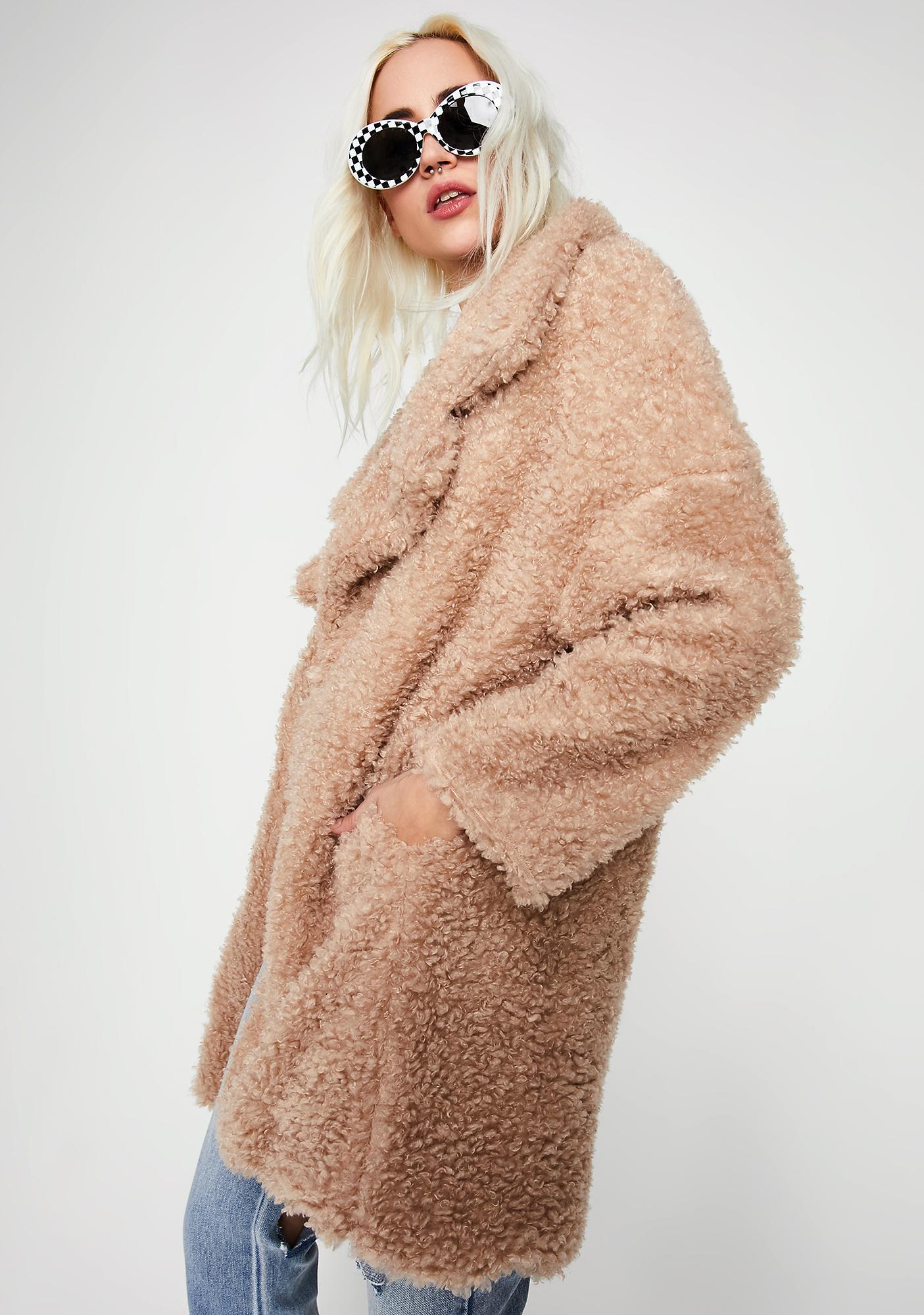 Nude Petty Yeti Fuzzy Coat