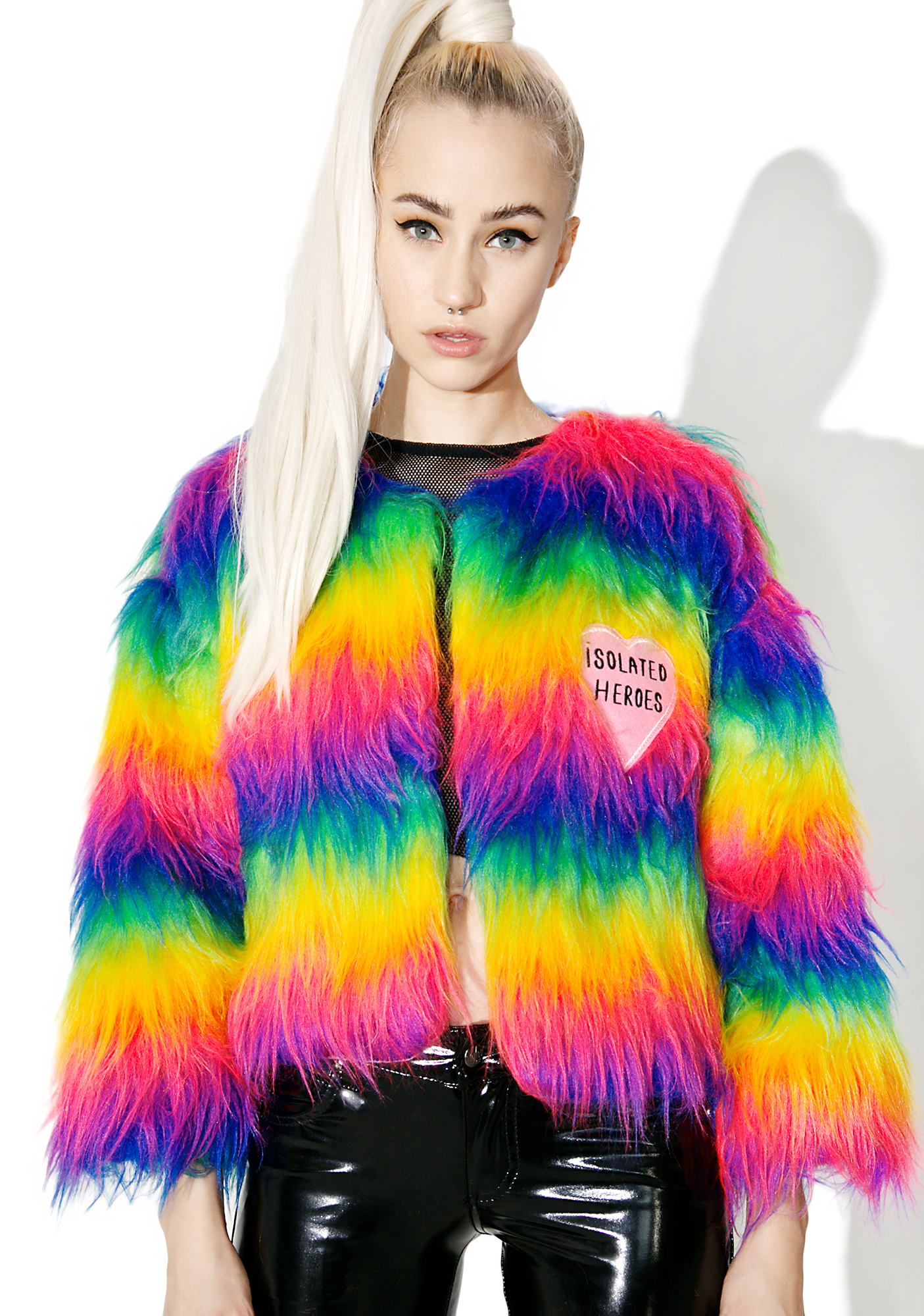 Isolated Heroes Rainbow Faux Fur Mini Coat