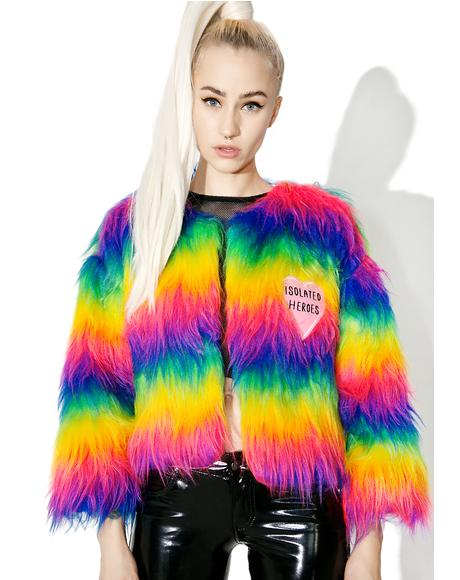 Rainbow Faux Fur Mini Coat