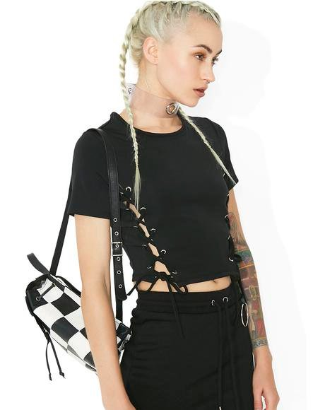 Somewhere Between Lace-Up Crop Tee