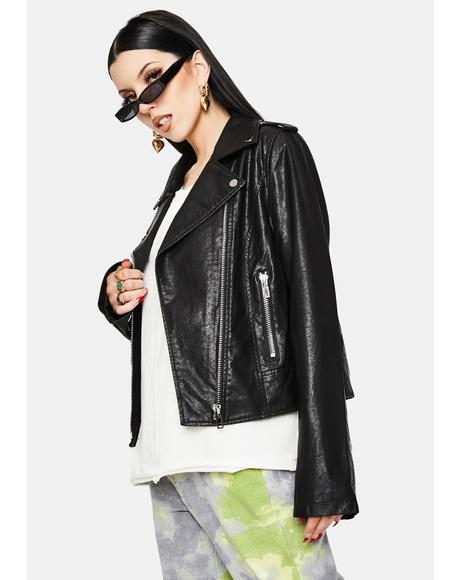 Ivana Vegan Leather Moto Jacket