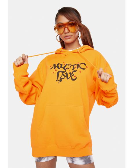 X Playdude Safety Orange Mystic Love Graphic Hoodie