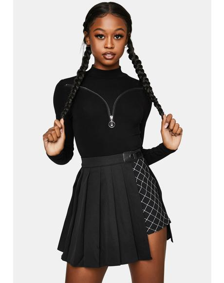 Layered Half Pleated Mini Skirt
