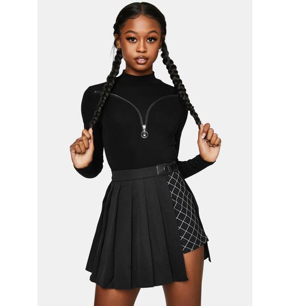 Punk Rave Layered Half Pleated Mini Skirt