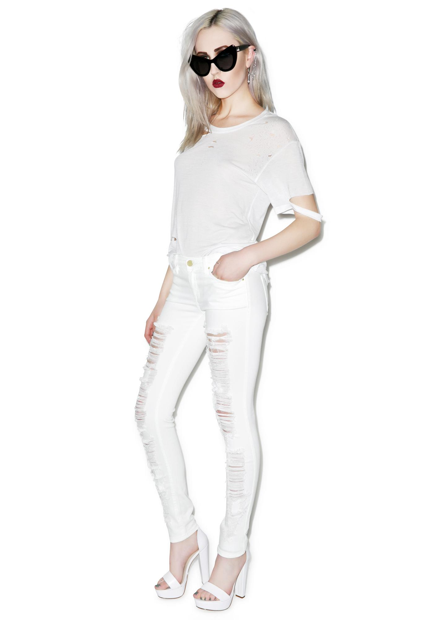Blank NYC White Lines Spray On Skinny Jeans