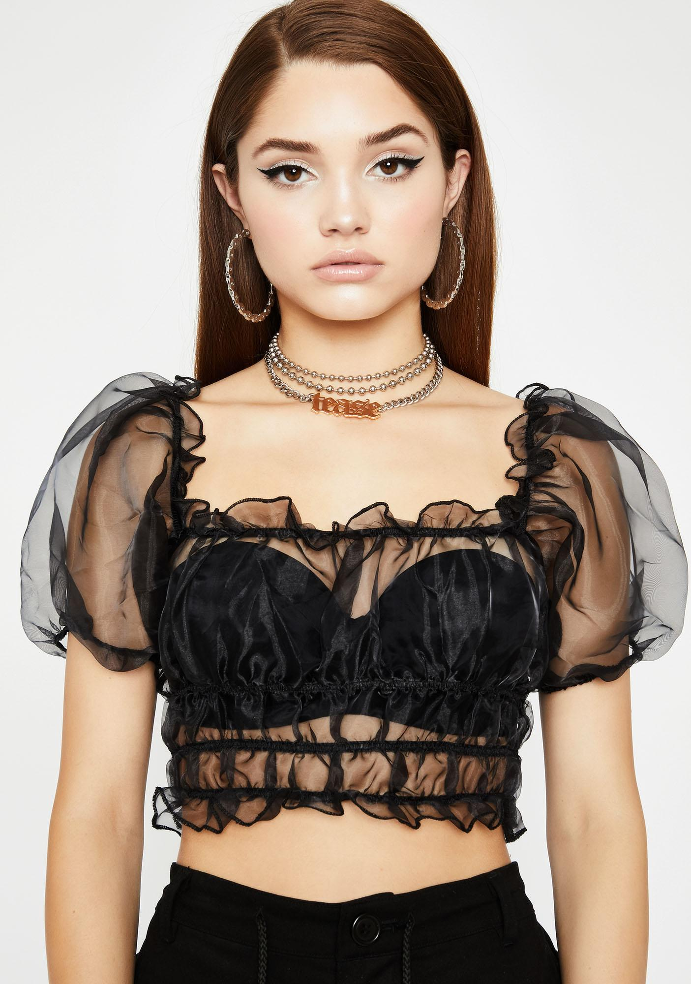 Dark Flashy N' Flirty Organza Top