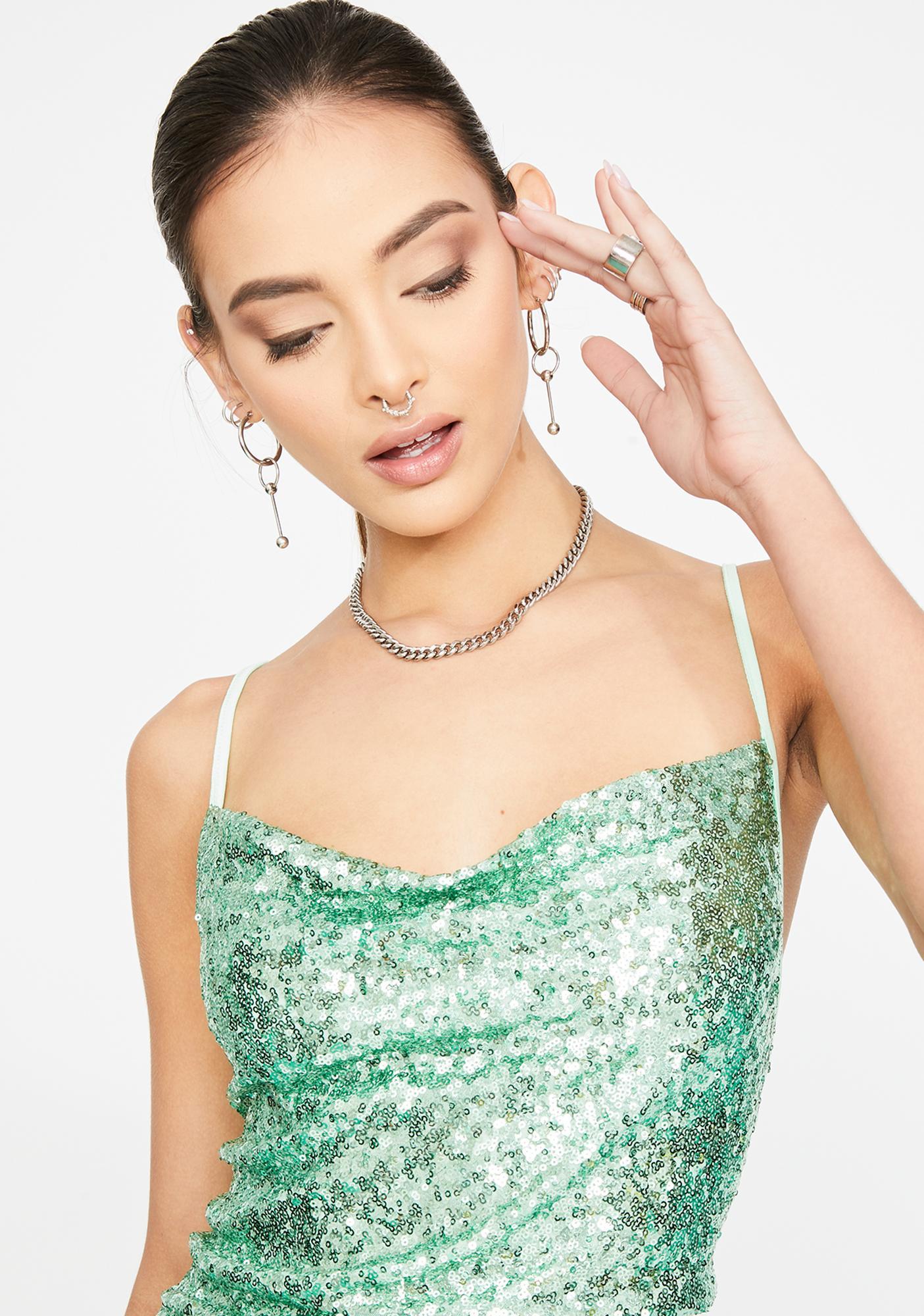 Glamorous Green Sequin Cowl Neck Mini Dress