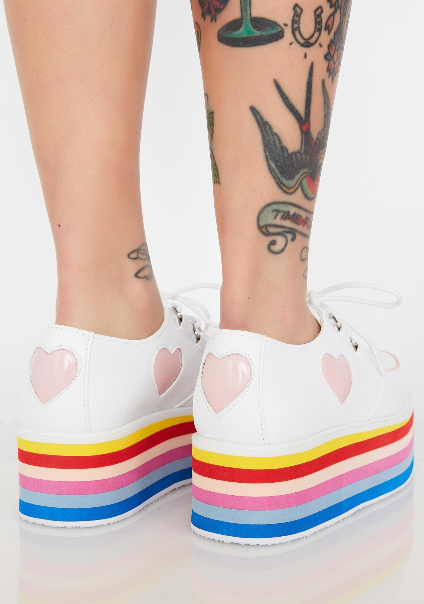 T.U.K. Heart Rainbow Platform Creepers