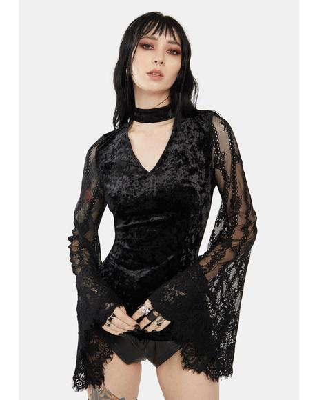 Velvet Top With Lace Bell Sleeves