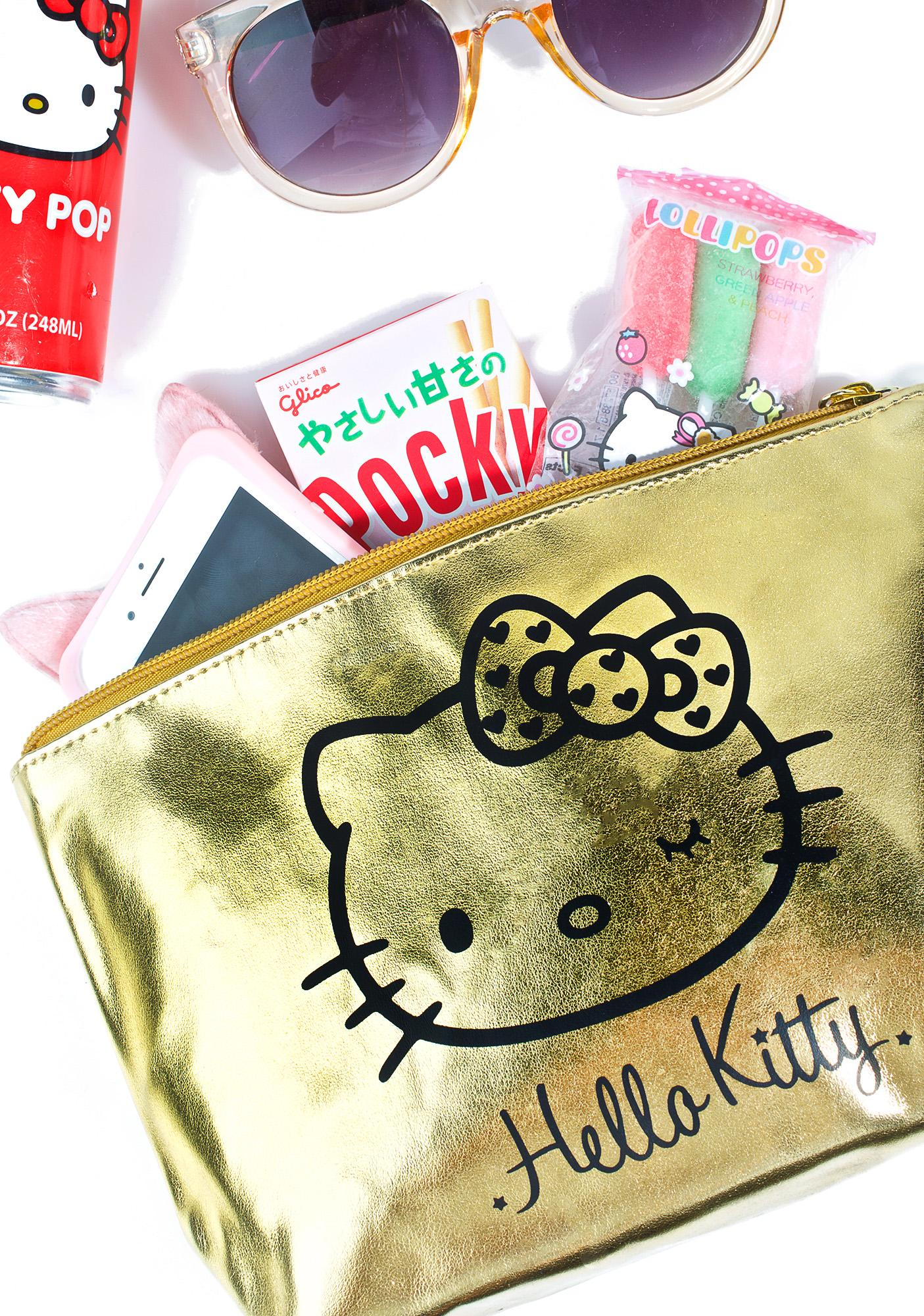 Sanrio Golden Hello Kitty Makeup Pouch
