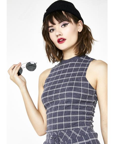 Simple Plaid Fountain Crop Top