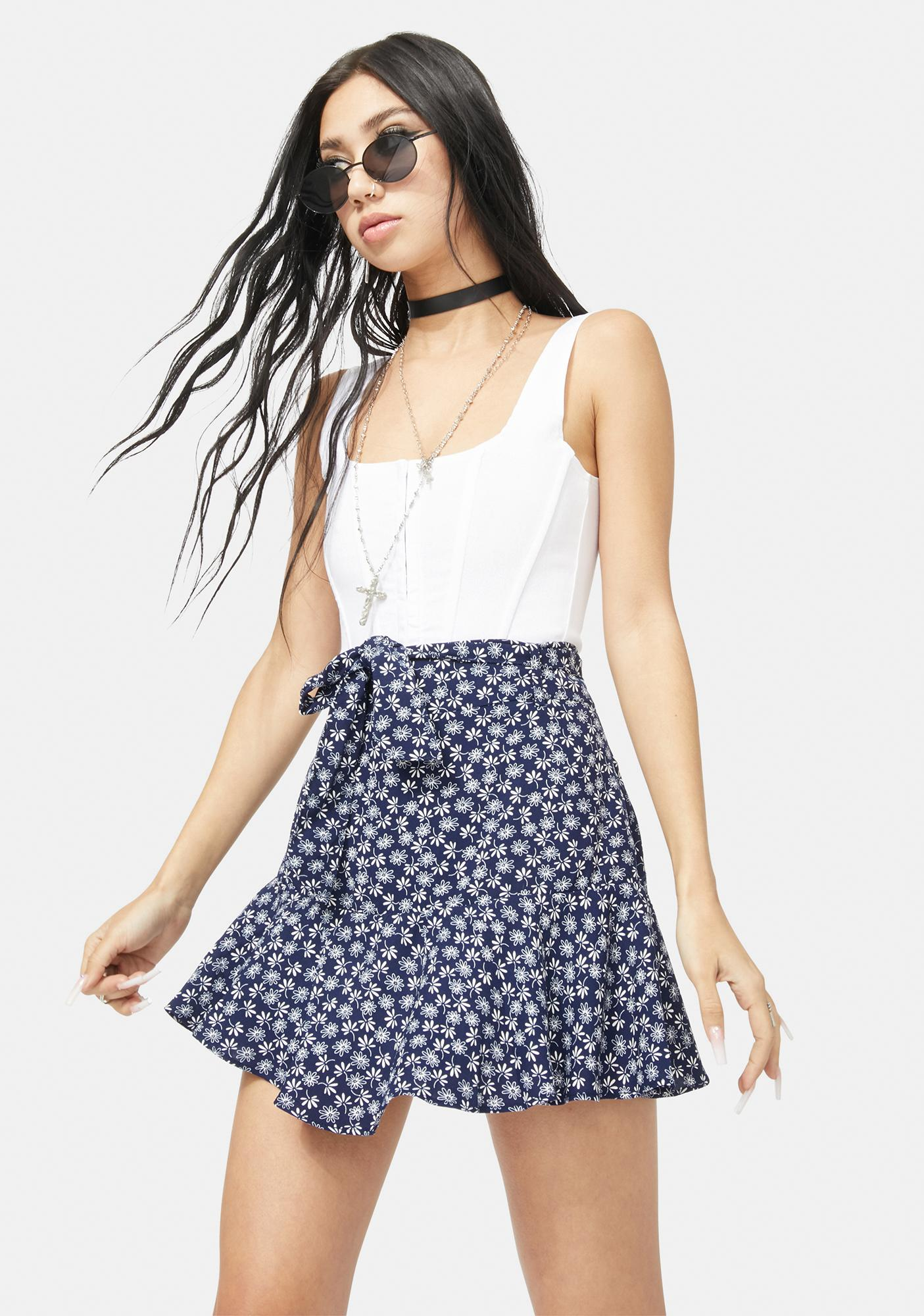 Deep Picked Perfection Floral Wrap Mini Skirt
