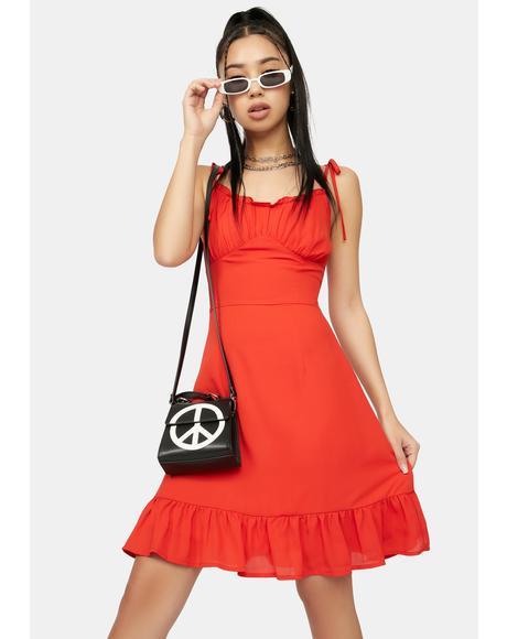 Scarlet No Promises Ruffle Tie Strap Mini Dress