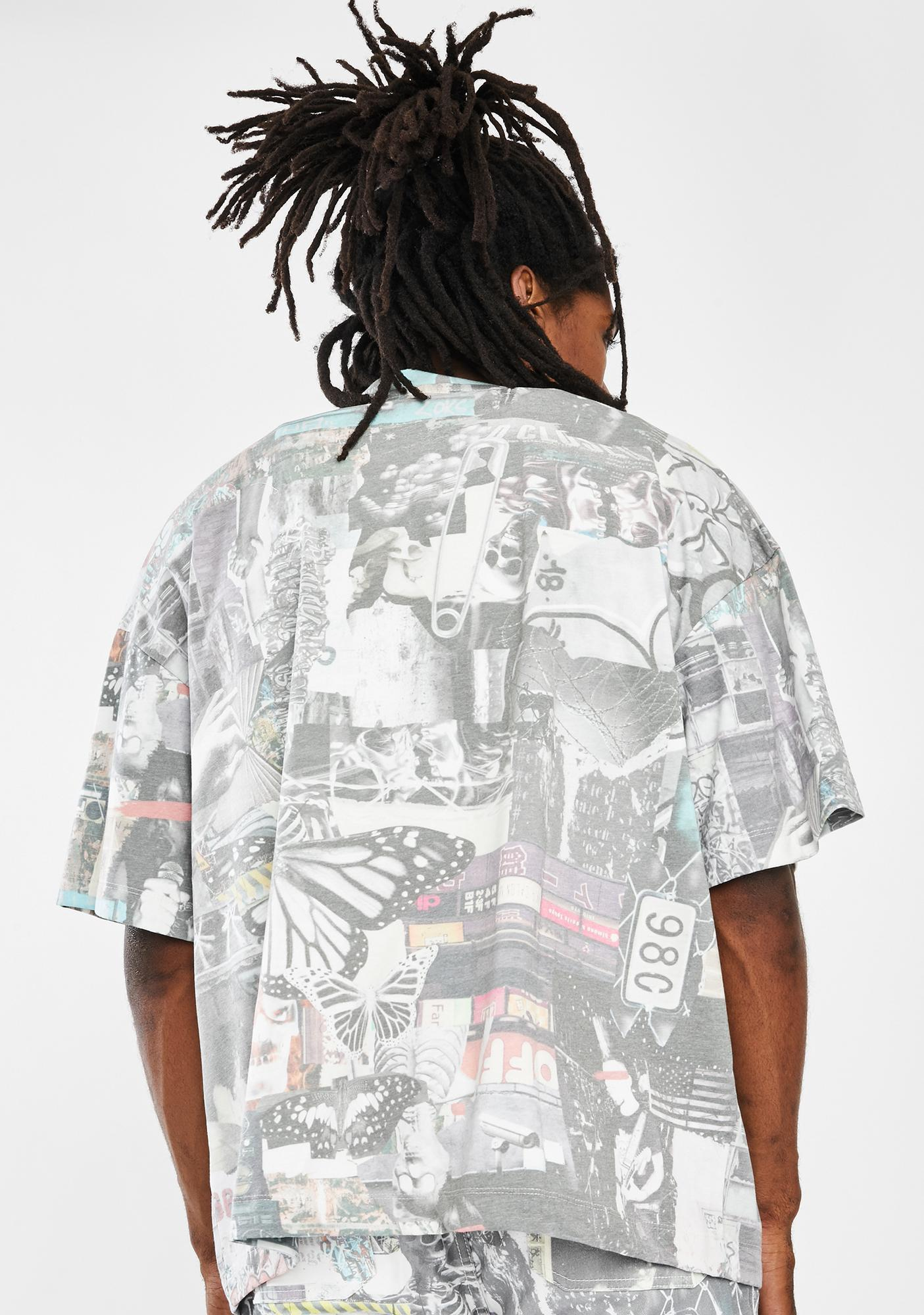 Jaded London Washed Collage Oversized Graphic Tee