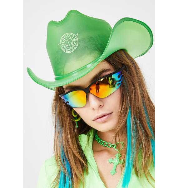 Neon Cowboys Emerald Green Light Up Cowboy Hat