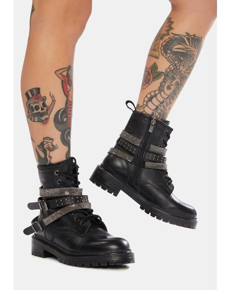 Captain Rhinestone Leather Combat Boots