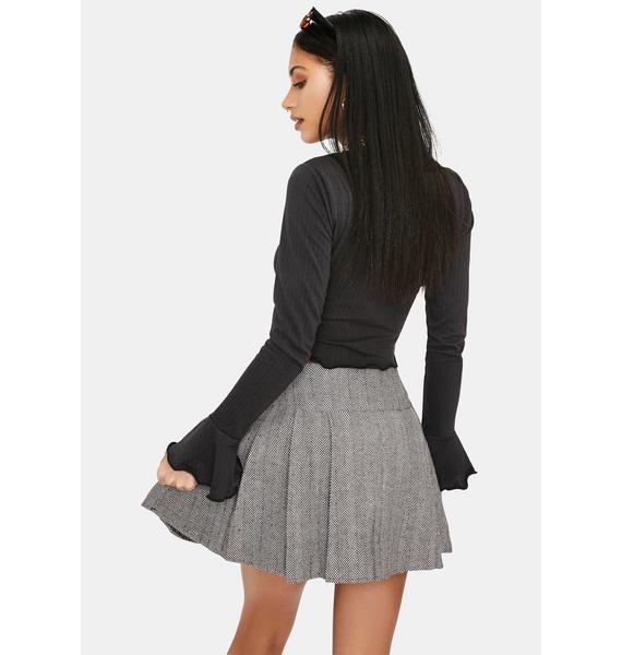 Mocha Current Affairs Pocket Pleated Skirt