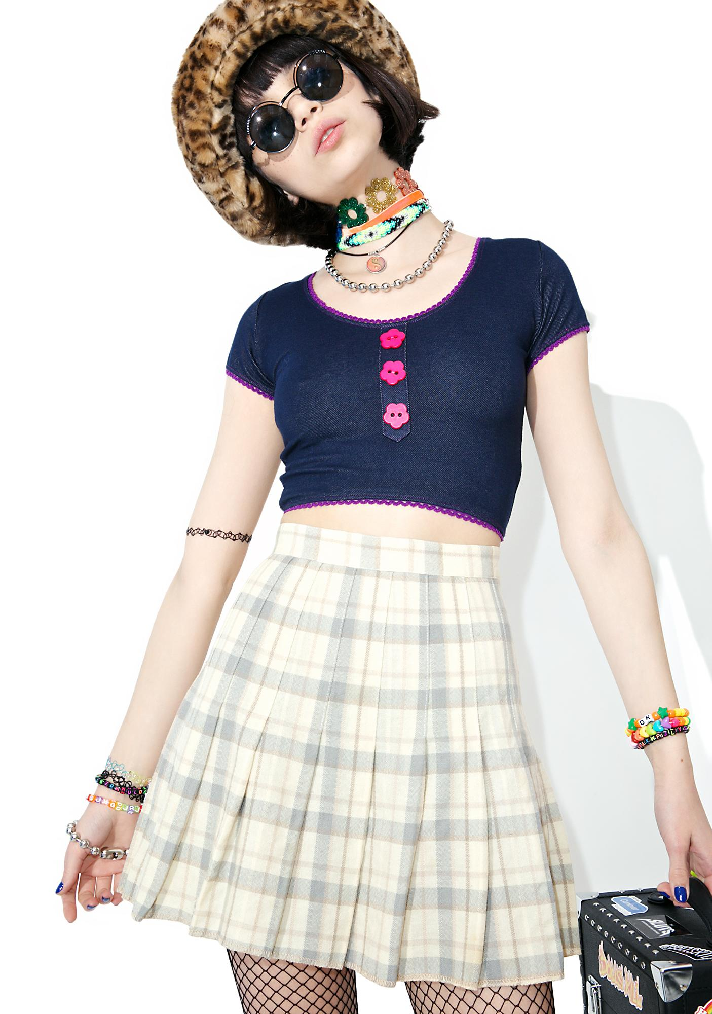 0423a7beab Vintage 90s Cream Plaid Mini Skirt | Dolls Kill