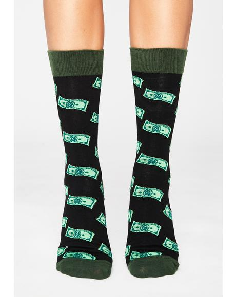 Cash Flowin' Crew Socks