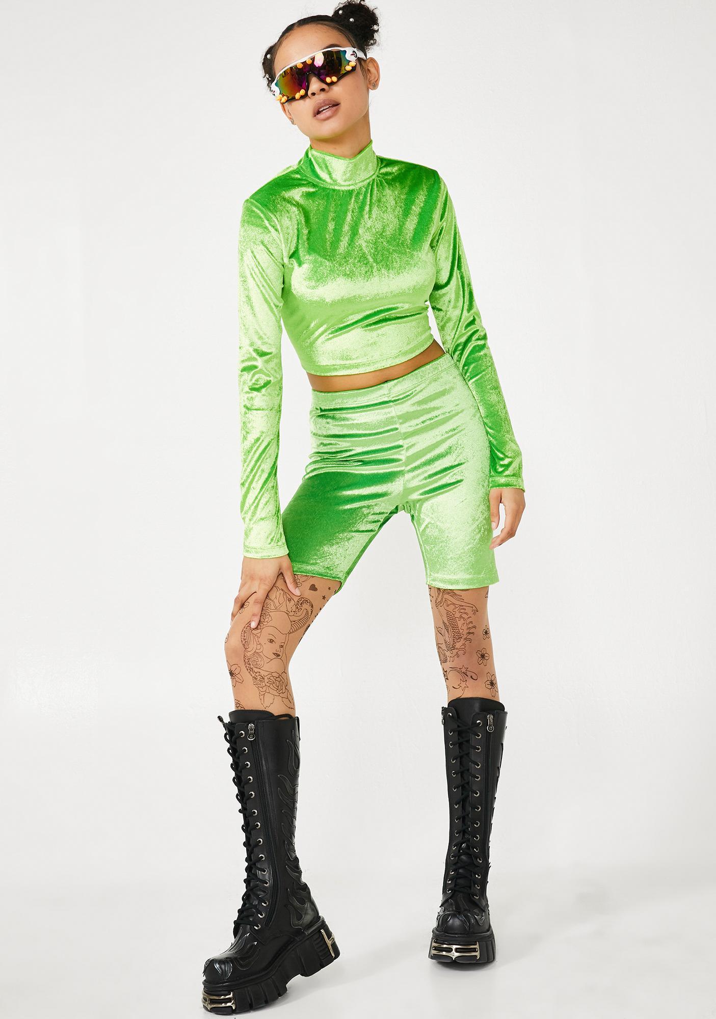 Motel Velvet Lime Biker Shorts