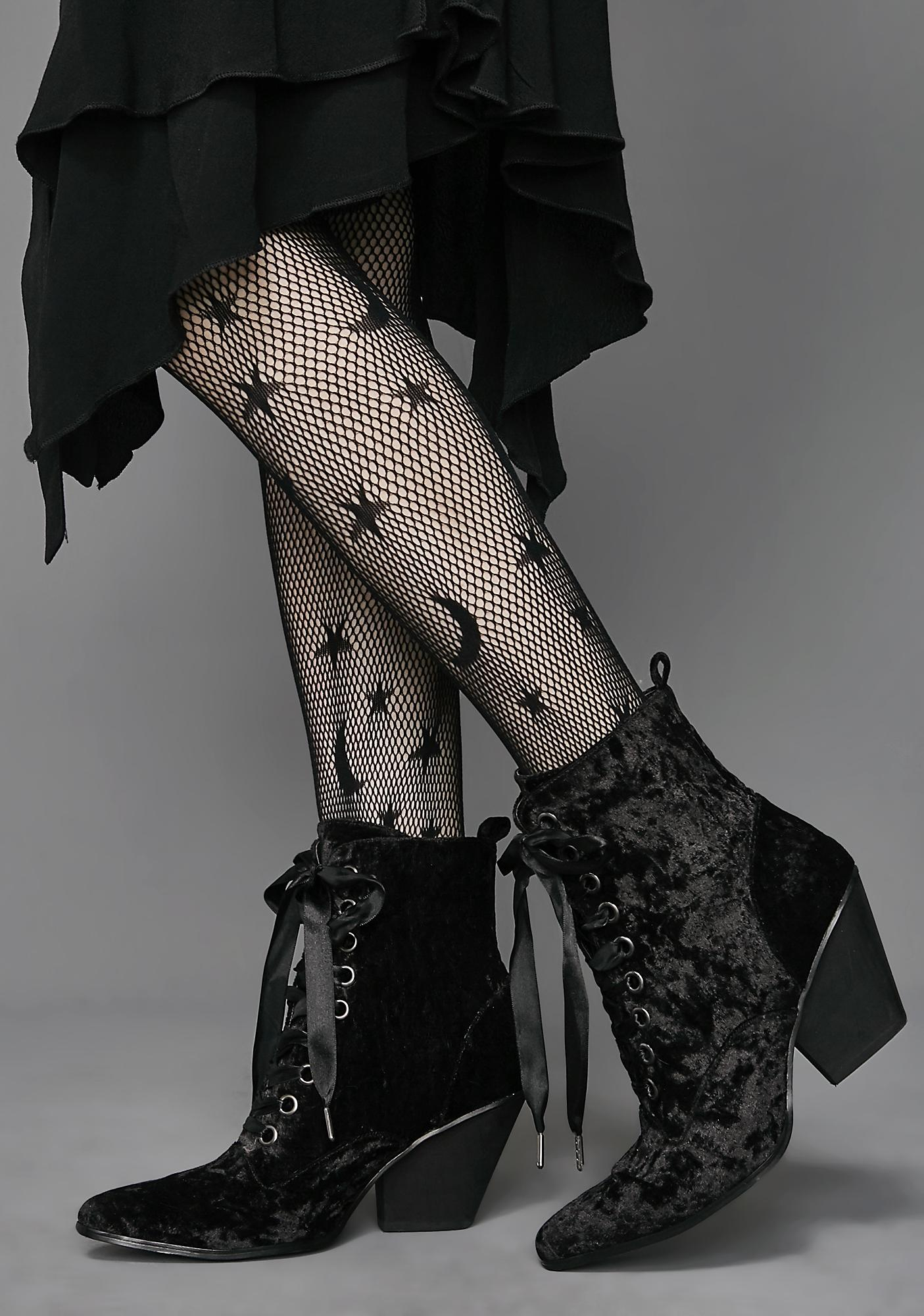 Love Sick Velvet Granny Boots by Widow