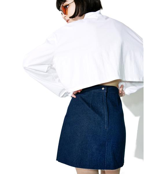 Stuck on Stupid Dark Blue Denim Skirt