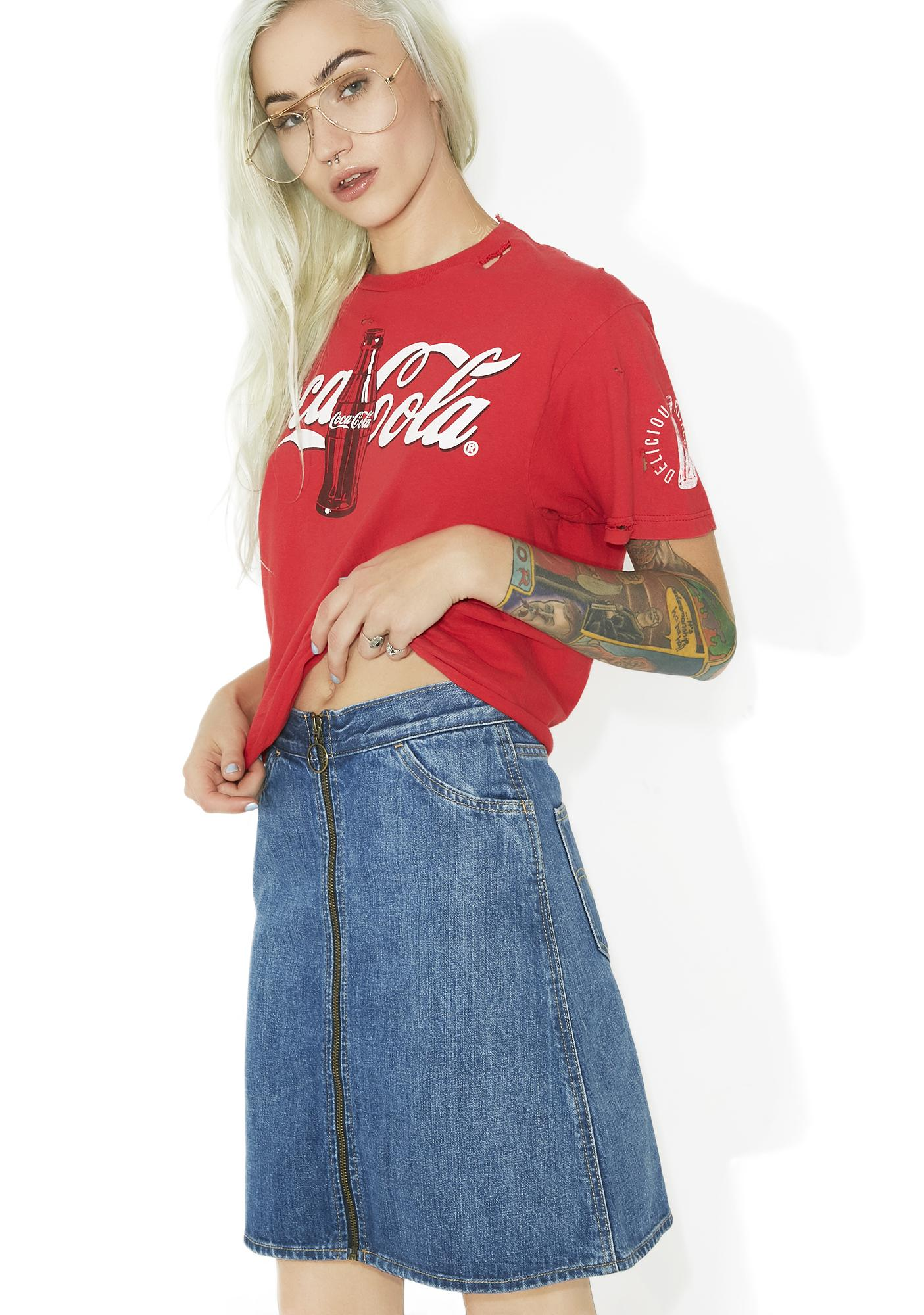 Levis Orange Tab Zip Front Skirt