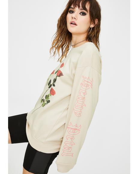 Rose Graphic Pullover Sweatshirt
