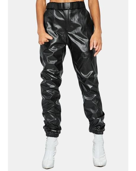 Take The Lead Vegan Leather Joggers