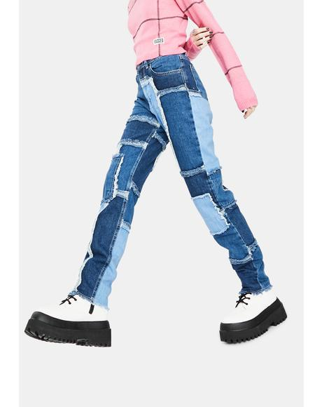 Cheat Patchwork Mom Jeans