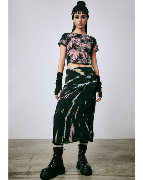 Twist Of Fate Tie Dye Midi Skirt