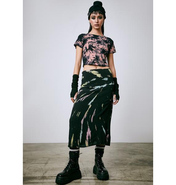 Current Mood Twist Of Fate Tie Dye Midi Skirt