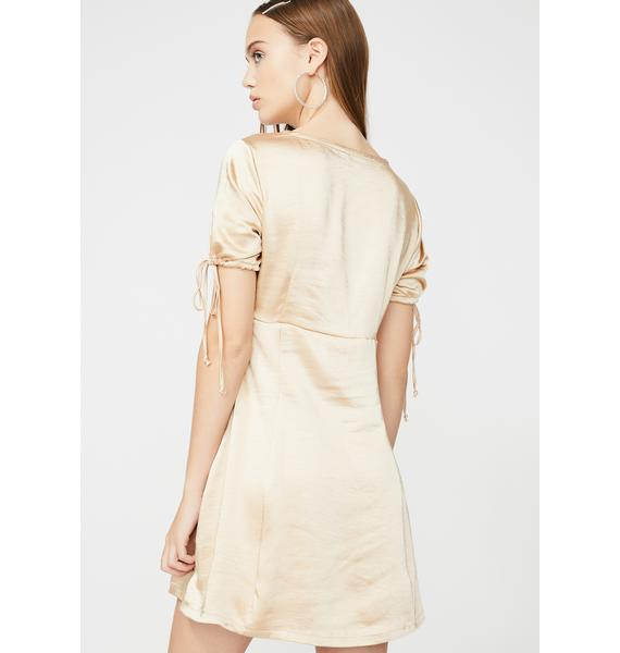 Motel Gold Guenette Satin Dress