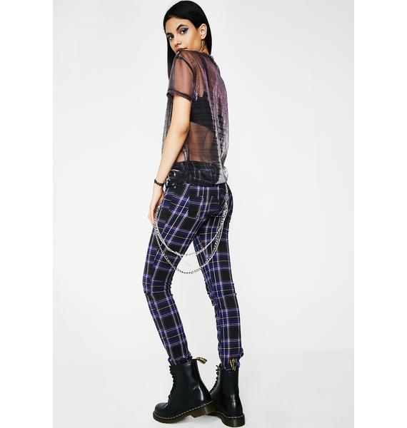 Tripp NYC Violet Tartan Plaid Pants