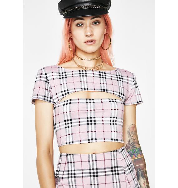 Motel Pink Check Shim Top