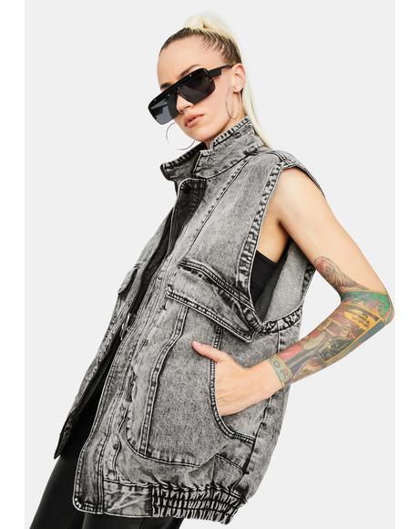 Washed Up Love Black Denim Vest