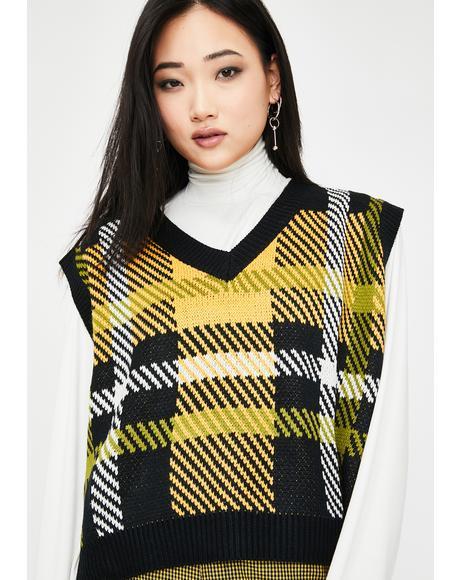 Black Check Knitted Vest
