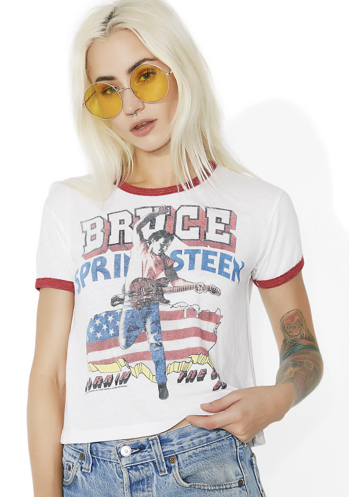 Trunk Ltd. Bruce Springsteen Cropped Ringer Tee