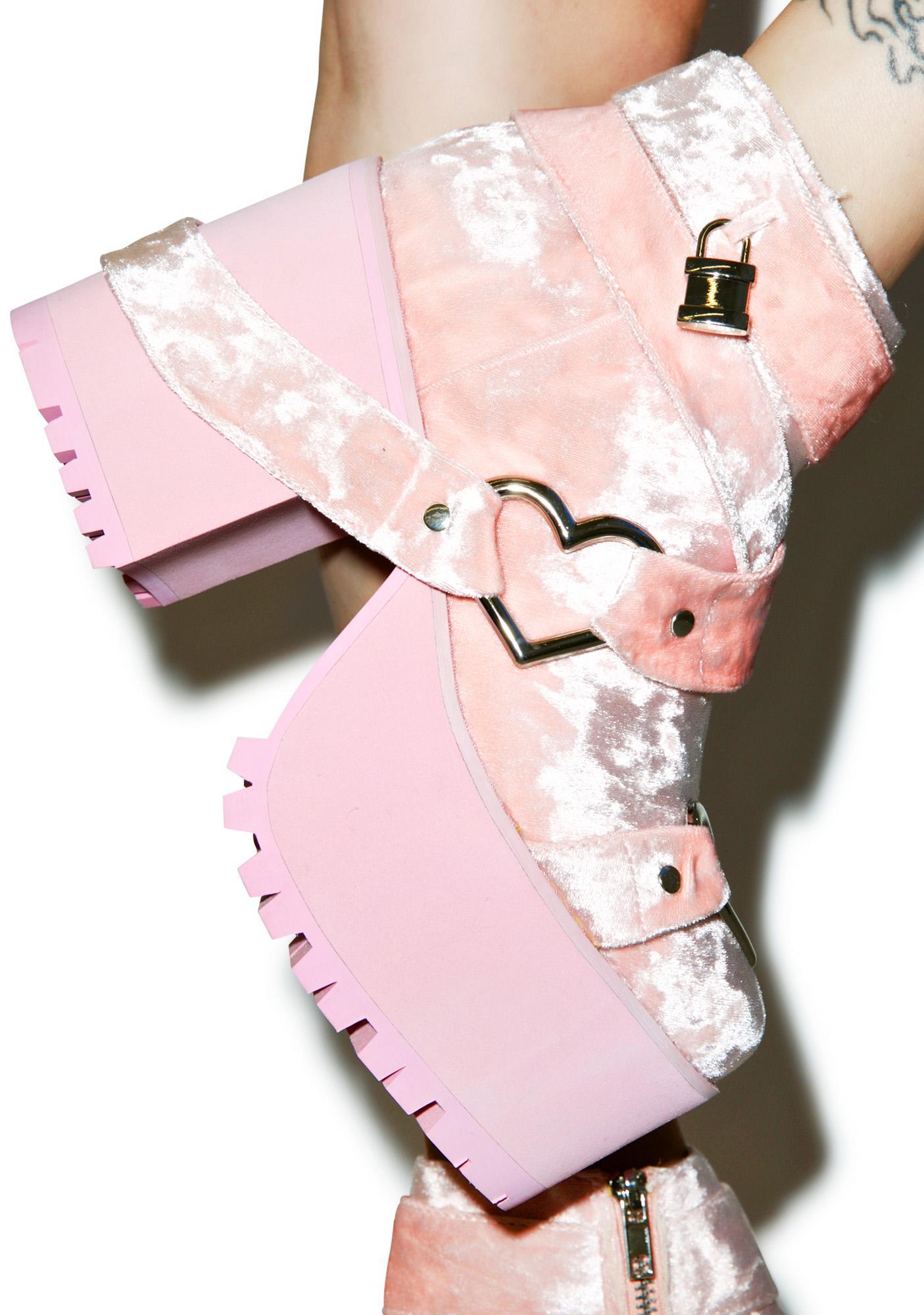 Y.R.U. Velvet Cherish Platform Boots
